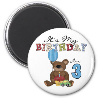 Boy Bear 3rd Birthday Tshirts and Gifts 2 Inch Round Magnet