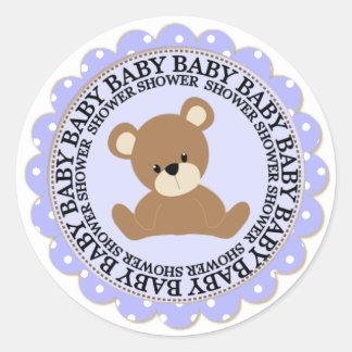 Boy Bear and Blue Polkdots Baby Shower Classic Round Sticker