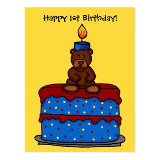 boy bear on 1st birthday cake postcard
