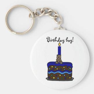 boy bear on birthday cake basic round button keychain