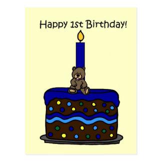 boy bear on cake 1st birthday post cards