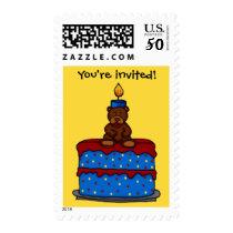 boy bear on cake birthday party invitation stamp