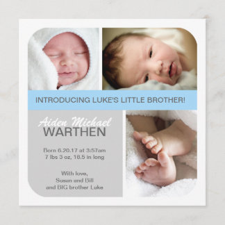 BOY Birth announcement Big & Little brothers