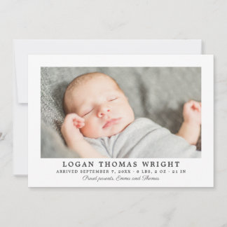 Boy Birth Announcement Card | Handsome Stripes
