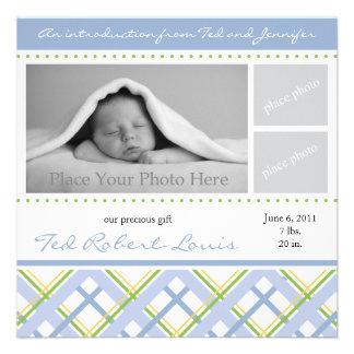 Boy Birth Announcement - Photo Card