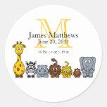 Boy Birth Announcement Sticker Jungle Animals