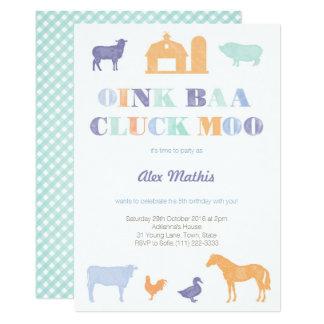 boy birthday invites, farm party, petting-zoo card