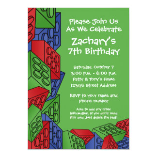 Boy Birthday Party - Building Blocks Card