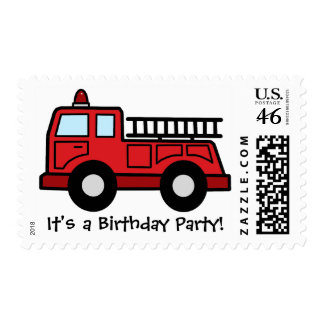 Boy Birthday Party Cartoon Clip Art Firetruck Postage