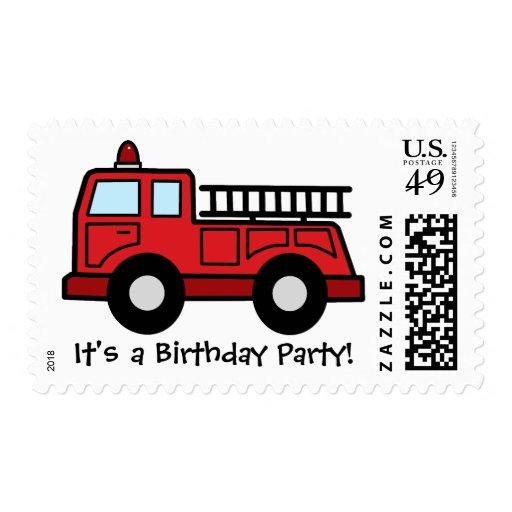 Boy Birthday Party Cartoon Clip Art Firetruck Postage Stamp