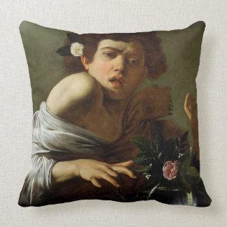 Boy Bitten by a Lizard, c.1595-1600 (oil on canvas Throw Pillow