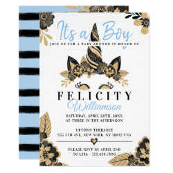 Boy Black Blue Gold Unicorn Baby Shower Invitation
