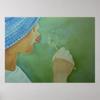 Boy blowing a dandelion clock Print