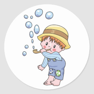 Boy Blowing Bubbles Classic Round Sticker