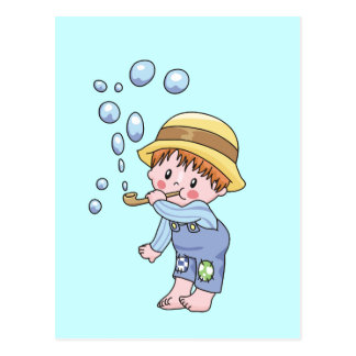 Boy Blowing Bubbles Tshirts and Gifts Postcard