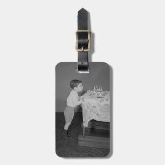 Boy Blowing Out Candles Bag Tag