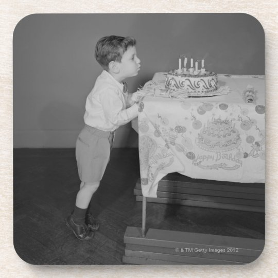Boy Blowing Out Candles Beverage Coaster