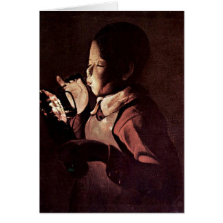 Boy Blows Into A Lamp By Georges De La Tour Greeting Card