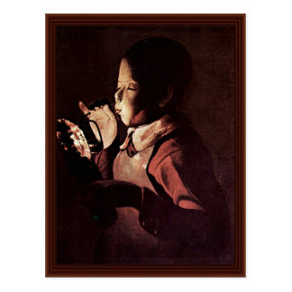 Boy Blows Into A Lamp By Georges De La Tour Postcard