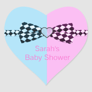 Boy Blue And Or Girl Pink Baby Shower Heart Sticker