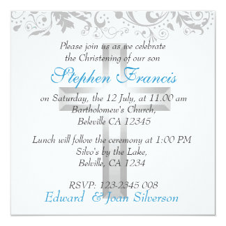 Boy Blue and White Christening Baptism Personalised Announcement