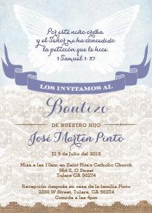 Spanish baptism christening invitations zazzle boy blue angel baptism invitations in spanish stopboris Gallery