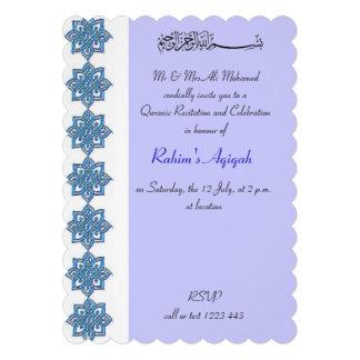 Boy blue aqiqah Islamic Invitations