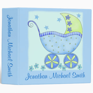 Boy Blue Baby Buggy Photo Custom Baby Book Album Binder