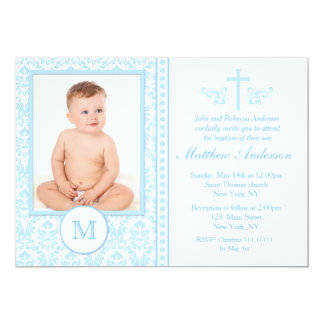 Boy Blue Baptism Invitations