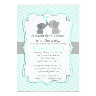 Boy Blue Elephant Baby Shower Invitations Chev 330