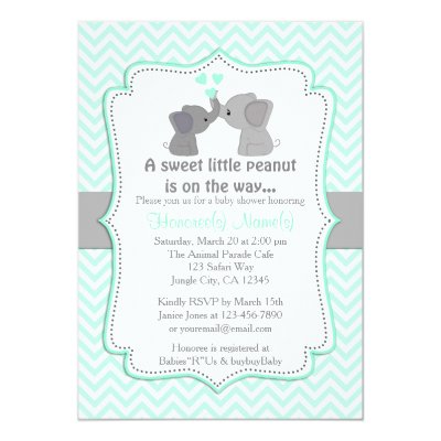 blue elephant chevron baby shower invitation | zazzle, Baby shower invitations