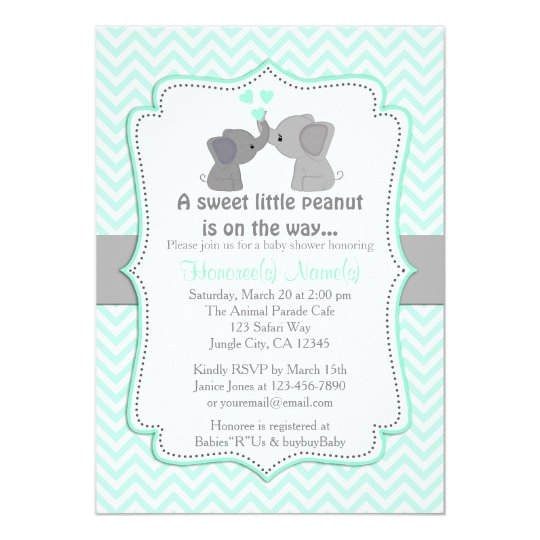 Boy Blue Elephant Baby Shower Invitations Chev   ZazzleCom