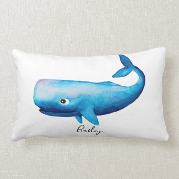 Beach Themed Boy Blue Ocean Watercolor Whale Beach Name Nursery Lumbar Pillow