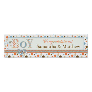 BOY Blue Orange Brown Dots Baby Shower Banner Posters