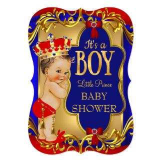 Boy Blue Red Royal Prince Baby Shower 5x7 Paper Invitation Card