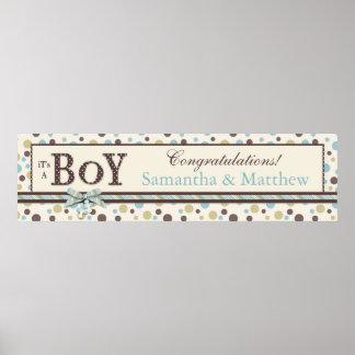 BOY Blue Sage Brown Dots Baby Shower Banner Poster