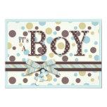 BOY Blue Sage Brown Dots Baby Shower Invitation