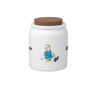 Boy blue shirt with yellow chicks candy jars