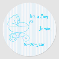 boy-blue-stroller classic round sticker