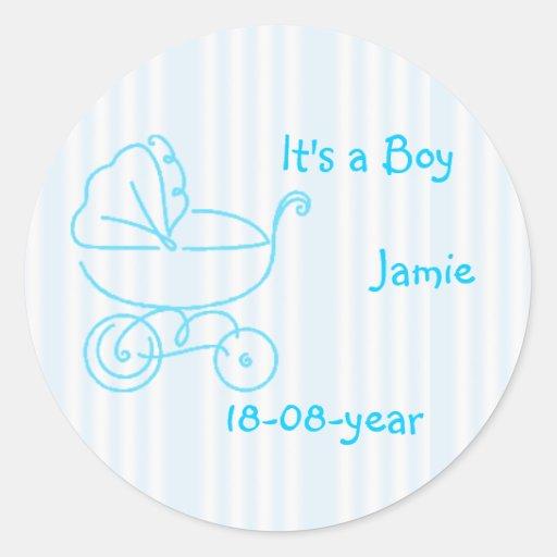 boy-blue-stroller round sticker