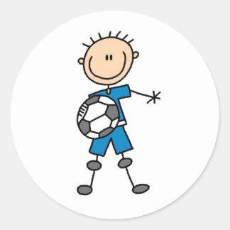 Boy Blue Uniform Soccer Classic Round Sticker