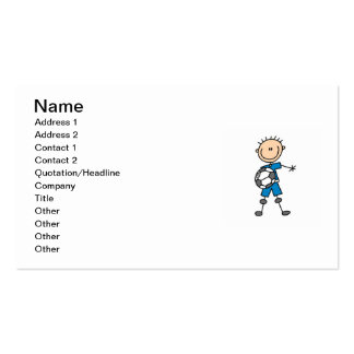 Boy Blue Uniform Stick Figure Soccer Player Gifts Double-Sided Standard Business Cards (Pack Of 100)