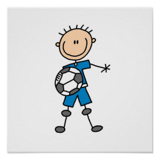 Boy Blue Uniform Stick Figure Soccer Player Gifts Posters