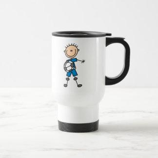 Boy Blue Uniform Stick Figure Soccer Player Gifts Travel Mug