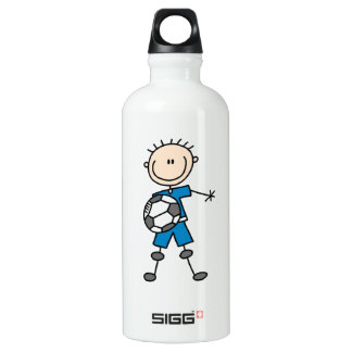 Boy Blue Uniform Stick Figure Soccer Player Water Bottle