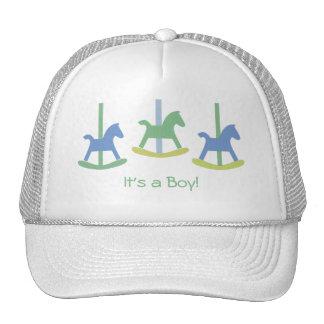 Boy Blue, Yellow & Green Rocking Horse Cap Trucker Hat
