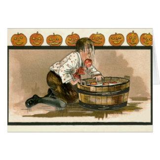 Boy Bobbing For Apples Jack O Lantern Pumpkin Card
