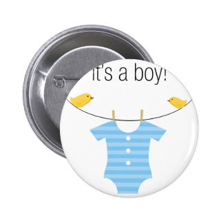 Boy Bodysuit Outfit on a Clothesline Pinback Button