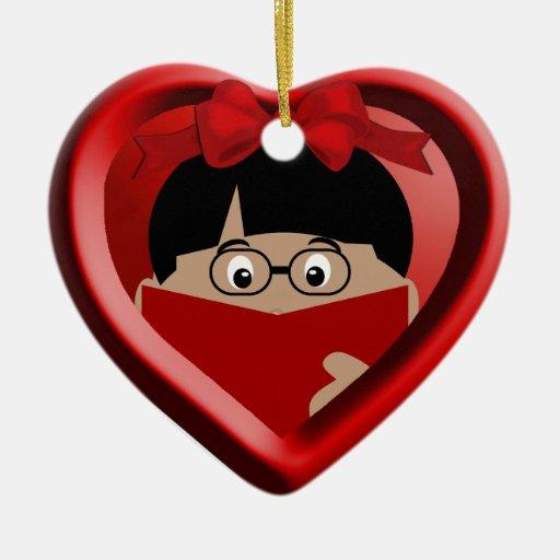 Boy Book Lover Kids Heart Ornament 1
