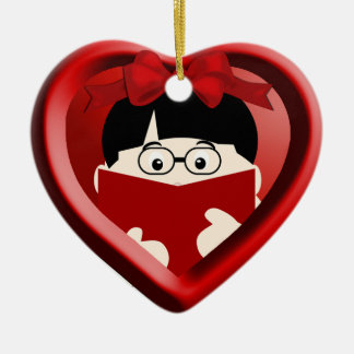 Boy Book Lover Kids Heart Ornament 2